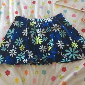 Justice blue,white,turquoise and neon flower skirt